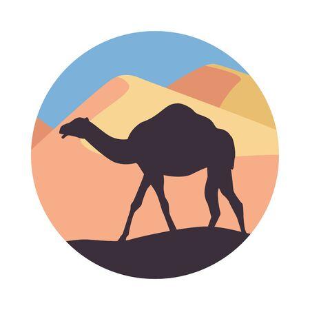 desert landscape flat scene with sand and camel vector illustration design