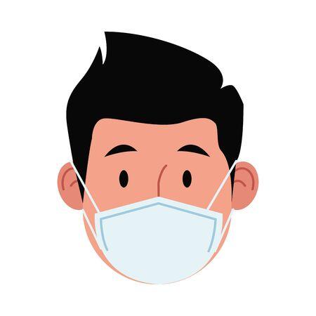 man using face mask for covid 19 vector illustration design  イラスト・ベクター素材