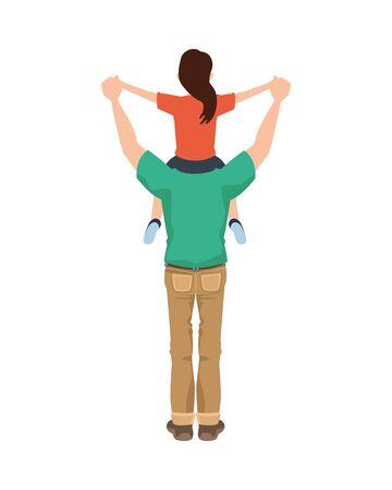 dear father with little daughter vector illustration design Иллюстрация