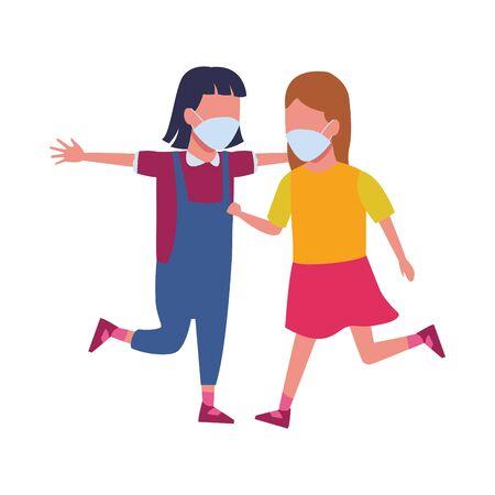 little girls using face masks for covid19 vector illustration design Vettoriali