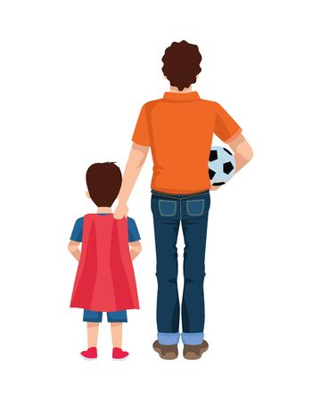dear father with soccer ball and son vector illustration design