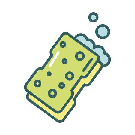 clean sponge fill style icon vector illustration design