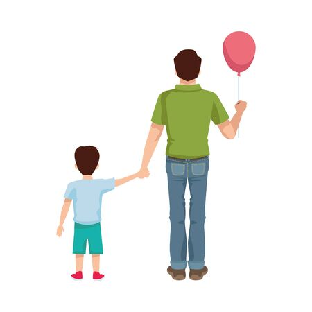 dear father with balloon helium and son vector illustration design Иллюстрация