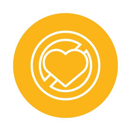 heart in denied symbol isolated icon vector illustration design
