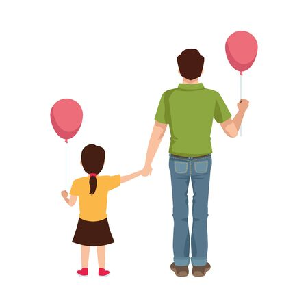 dear father with balloon helium and daughter vector illustration design