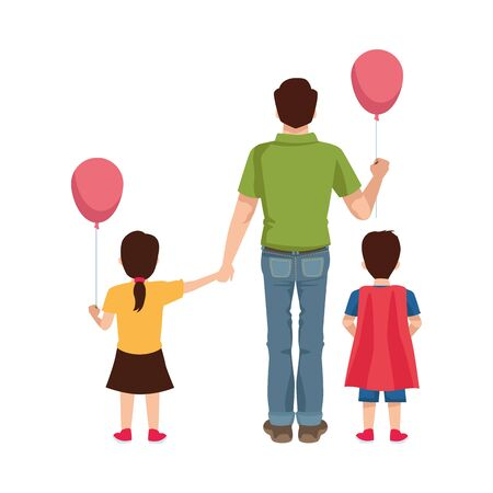 dear father with balloon helium and kids vector illustration design