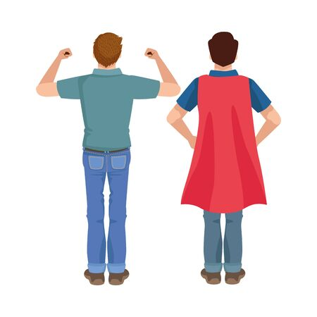 dear fathers with hero cloaks vector illustration design Иллюстрация