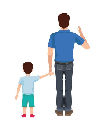 dear father with son avatars characters vector illustration design