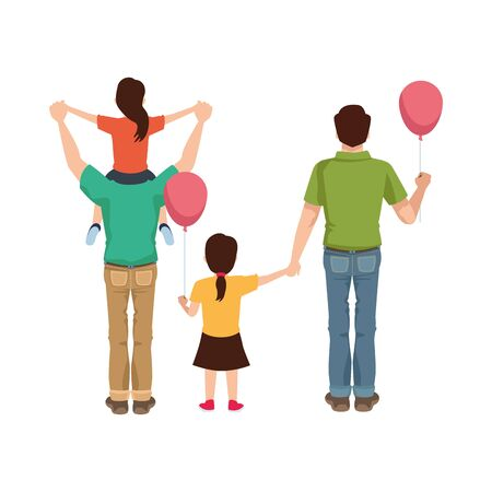 dear fathers with daughters and balloons helium vector illustration design