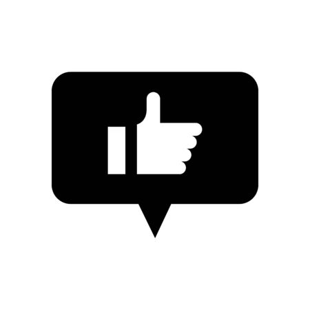 speech bubble with hand like social media silhouette style vector illustration design