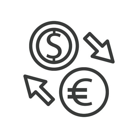 dollar and euro with arrows line style vector illustration design