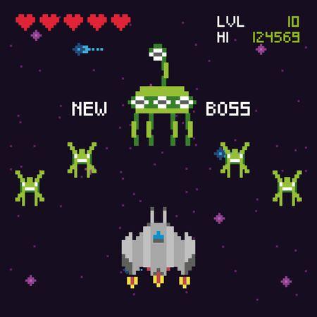 retro video game space pixelated scene vector illustration design