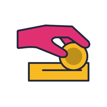 hand insert coin fill style icon vector illustration design