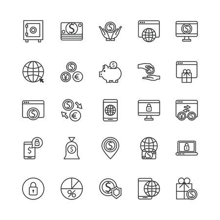 bundle of payment on line set icons vector illustration design
