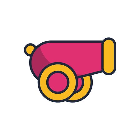 cannon weapon fill style icon vector illustration design