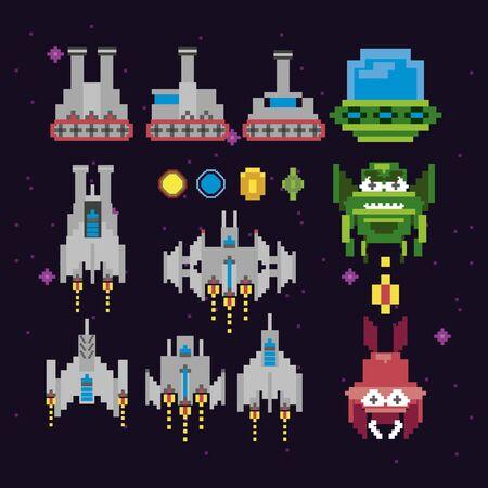 retro video game space pixelated set icons vector illustration design Vecteurs