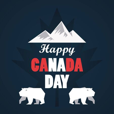 first july canada day celebration poster with mountains vector illustration design