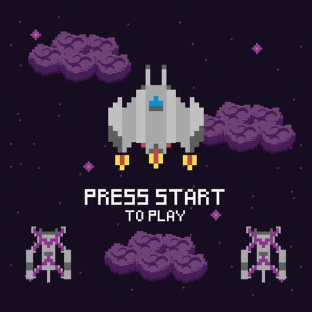 video game space pixelated scene and press start message vector illustration design