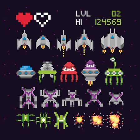 retro video game space pixelated set icons vector illustration design