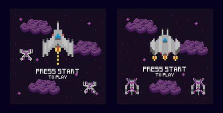 retro video game space pixelated scenes vector illustration design 向量圖像