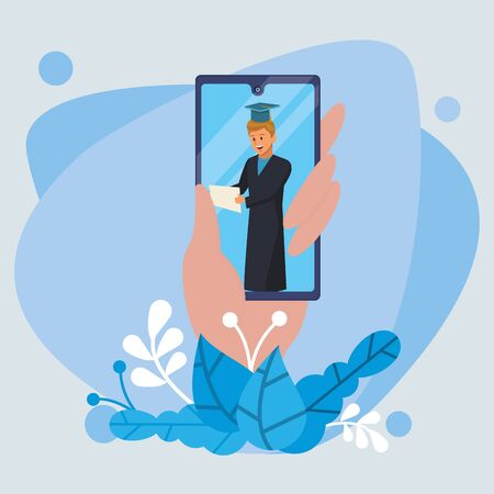 online education tech with student boy and smartphone vector illustration design Vetores