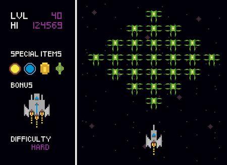 retro video game space pixelated scenes vector illustration design