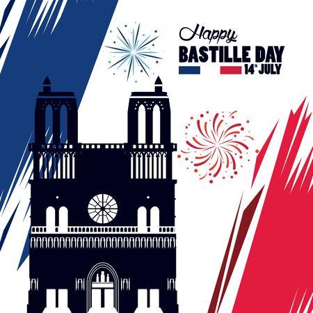 happy bastille day celebration with Notre Dame Cathedra vector illustration design Vectores