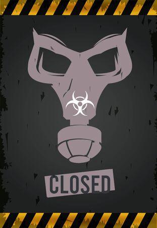 warning danger virus poster with mask and biohazard symbol vector illustration design