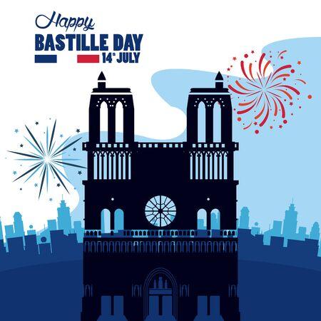 happy bastille day celebration with Notre Dame Cathedra vector illustration design Illustration