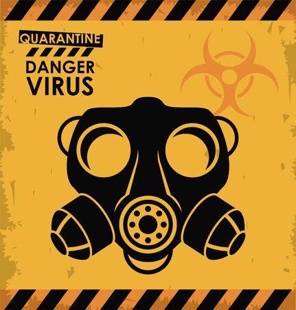 warning danger virus poster with mask and biohazar symbol vector illustration design