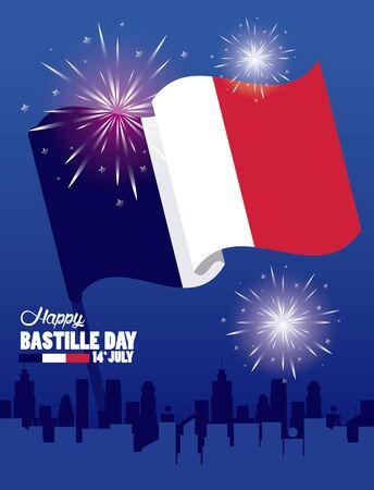 happy bastille day celebration with flag vector illustration design