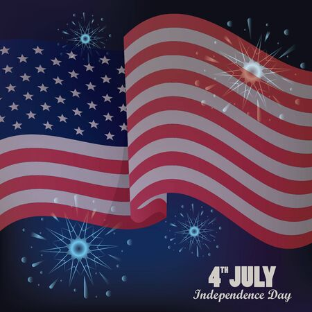 fourth july usa independence day celebration with flag and fireworks vector illustration design