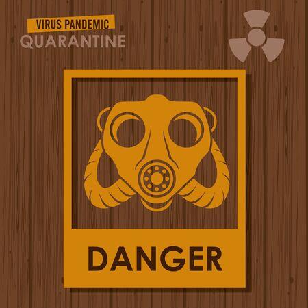 warning danger virus banner with mask and atomic symbol vector illustration design