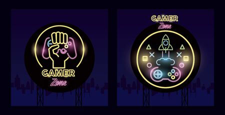 retro video game neon with rocket and control vector illustration design
