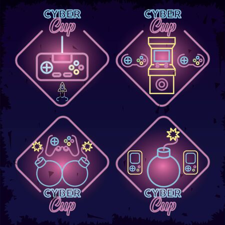 retro video game neon with set icons vector illustration design