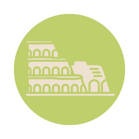 roman coliseum block style icon vector illustration design