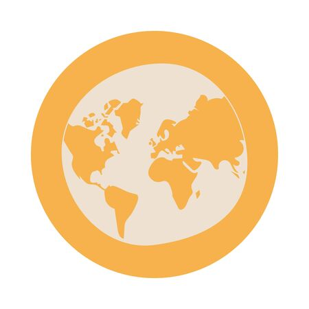world planet earth block style icon vector illustration design Иллюстрация
