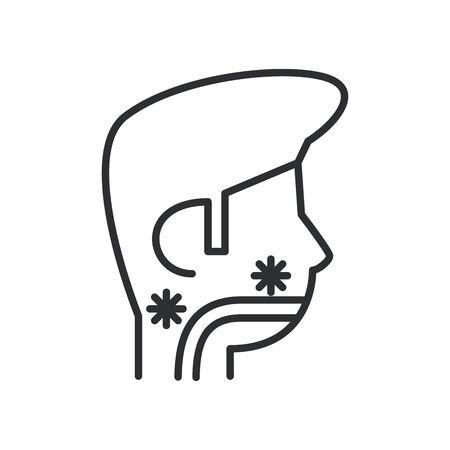 person with sore throat covid19 symptom line style icon vector illustration design Ilustracja
