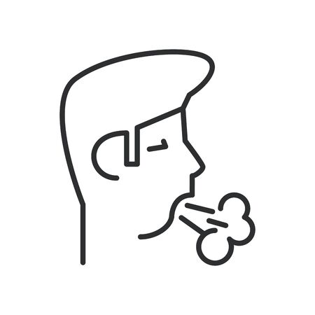 person coughing sick line style icon vector illustration design Иллюстрация