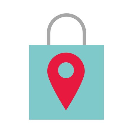 shopping bag market with pin location vector illustration design