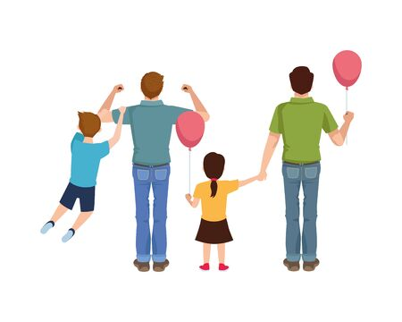 dear fathers with kids and balloons helium vector illustration design