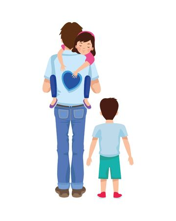 dear father with son and daughter vector illustration design