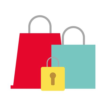 shopping bags market with padlock vector illustration design