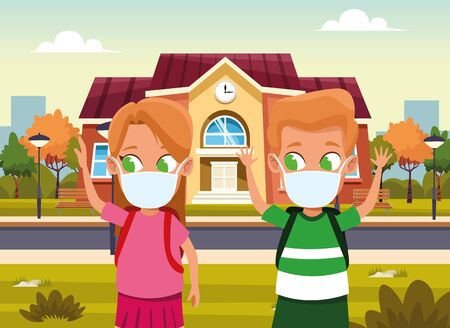 little kids couple using face masks for covid19 outdoor house vector illustration design