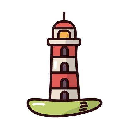 lighthouse beach fill style icon vector illustration design