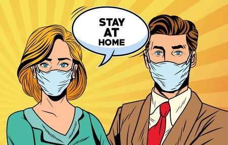 couple using face masks for covid19 saying stay at home vector illustration design