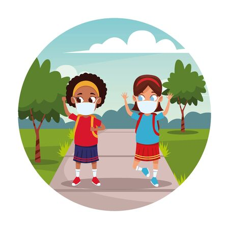 interracial girls using face masks for covid19 in the park vector illustration design Illustration