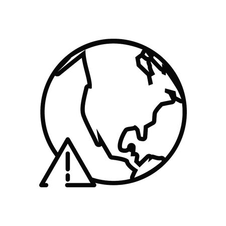 earth planet with alert line style icon vector illustration design Фото со стока - 147370506