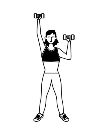 young woman athlete lifting dumbbells character vector illustration design