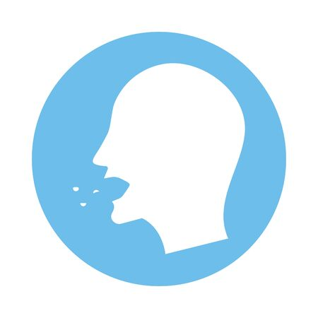 person coughing sick fill style icon vector illustration design